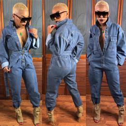 macacões femininas Desconto Mulheres Sexy Jeans Soltos Macacão Denim Azul Moda Mangas Compridas Macacões Botões Do Vintage Macacão Frete Grátis
