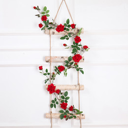 red vines Promo Codes - Real touch Artificial Fake Silk Rose Flower Fake Hanging Decorative Roses Vine Plants Leaves Artificial Garland Flowers Wedding Wall Decor