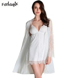 Wholesale Two Piece Lace Lingerie - New brand sexy lingerie long sleeve dressing gowns for women v-neck lace two pieces robe set women's bathrobes sleepwear pijama