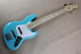 halb hohle körper bassgitarre Rabatt Freies Verschiffen Fabrik Benutzerdefinierte neue hellblau Jazz 5 String Bass Maple Fingerboard Musik Bass 9-30 @ 31