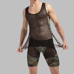 Wholesale Tank Tops Long Set - Mens Sexy Underwear Set Mesh Camouflage Printing Tank Top Long Underwear Sexy Erotic Nightclub Party Nightwear Hot Plus size XXL