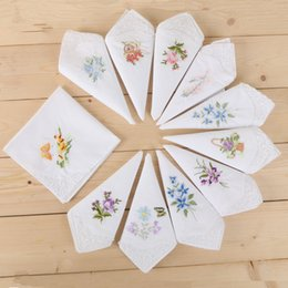 Wholesale Women Handkerchief Cotton - White Handkerchiefs cotton enbroidery handkercheif for women decoration partty dress small square towel cotton textile pure color