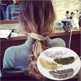Wholesale Hair Jewelry Claw Clips - Trendy Leaf Shape Barrettes Hairpin 4 Color Hair Claws Feather Hair Clip Women Fashion Jewelry Cute Girls Hair Accessories 2018 wholesale