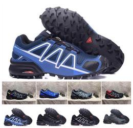 Wholesale waterproof walking shoes men - 2018 fashion Newest Zapatillas Speedcross 4 White black yellow Running Shoes Men Walking Ourdoor Sport shoes Athletic Shoes Size 40-46