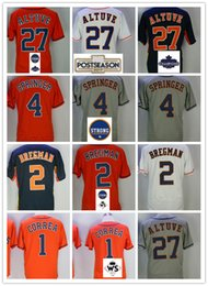 Wholesale Alex White Baseball - Men's Jersey 27 Jose Altuve 4 George Springer 1 Carlos Correa 2 Alex Bregman Men Basketball Champions Jerseys