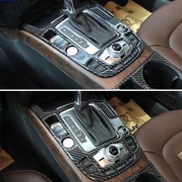 2019 audi a4 bracciolo 2 pezzi in fibra di carbonio console bracciolo cambio pannello del cambio trim interni stampaggio per audi a4 b8 q5 car styling audi a4 bracciolo economici