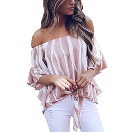 Wholesale striped shirt womens - Womens Summer Sexy Slash Neck T-Shirt Strapless Striped Black Blue Casual Tees Short Sleeve Elastic Bust Tops S-XL