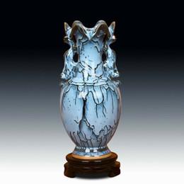 Wholesale Antique Blue Ceramic Vases - Jun porcelain antique blue Ssangyong earrings vase crafts home decorative ornaments