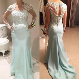 Wholesale Turquoise Mother Bride - Turquoise Mermaid Mother Of Bride Dress Long Sleeve 2018 V Neck Lace Applique Button Arabic Formal Evening Dresses Wedding Party Gown 2017