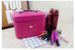 Косметика для чемоданов онлайн-Женщины благородная корона большой емкости профессиональный макияж чехол организатор высокое качество косметичка портативный ящик для хранения кисти чемодан