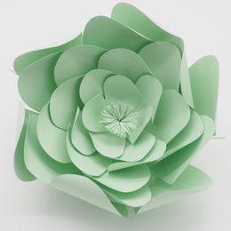 Wholesale green handmade paper - 1 Piece 25CM Cartstock Customized Light Green Giant Paper Flower For Wedding Backdrops Window Display Kids' Room Deco Handmade