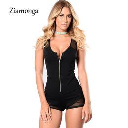 Schwarzer tiefer v bodysuit online-Ziamonga Frauen-reizvoller Overall-tiefer V-Netz-Bodysuit-Strumpfhosen Bodycon zufälliger kurzer Overall-schwarze Reißverschluss-Front-Frauen Playsuits Spielanzug