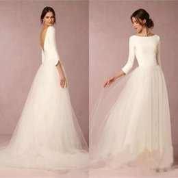 Wholesale cheap satin long skirt - Cheap Modest Simple Wedding Dresses A Line Satin Top Backless 2018 Bridal Gowns Soft Tulle Skirt Sweep Train Bridal Gowns BA