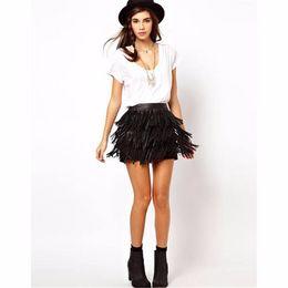 Wholesale flared leather skirt - 2018 Women Mini Skirt Stretch High Waist Plain Skater Flared Pleated Tassel Crop Dancer Clothing Sexy Black
