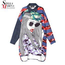 2019 knielänge jeanshemd kleid Neue 2018 koreanische Art-Frauen-Denim-Hemd-Kleid Volle Hülsen-bunte Karikatur druckte Knie-Längen-Mädchen-nette Abnutzung Midi-Kleid 3928 rabatt knielänge jeanshemd kleid