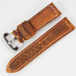 Guarda marrone marrone online-punto all'ingrosso italiano Retro marrone cinturino 22mm 24mm HandmadeGenuine Vintage cinturino in pelle per PAM per panerai
