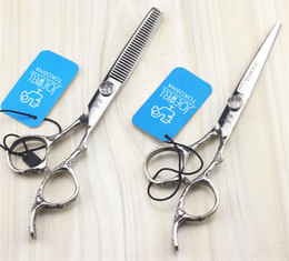 Wholesale Haircut Scissors Thinning - 6.0 Inch Hair Scissors Stainless Steel Flower Handle Professional Barber Salon Hairdresser Hairdressing Haircut Cutting Thinning Shears