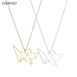 origami necklace charms UK - Everfast New Fashion Cute Origami Cat Pendant Necklace Hollow Kitty Cats Animal Long Chain Necklace Women Charm Bijoux Jewelry EFN030-A