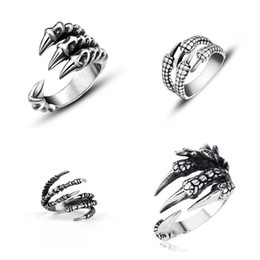 gothic stainless steel ring Promo Codes - Cool Punk Rock 316L Stainless Steel Men Biker Rings Vintage Gothic Jewelry Silver Color Dragon Claw Ring Men Finger Ring Gifts