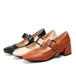 chunky mary jane shoes Coupons - new arrival women Mary Jane chunky heels pumps black leather buckle square toe fashion soft comfortable designer shoes for office casual
