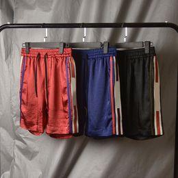 Wholesale beach bands - 18ss Europe Italy Stars Fashion Men Luxury Sport Stripe Shorts Casual Women Beach band satin jersey Pants