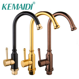 Wholesale ceramic space - KEMAIDI 3 Choices Hand Painting Kitchen Sink Mixer Rose Gold Polished Space Aluminium Metal Black Tap Bathroom Faucets