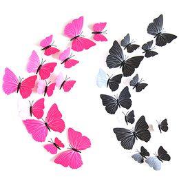Wholesale Diy Fridge Magnets - Hot! 12Pcs Removable 3D Butterfly Shape Sticker DIY Stickers Fridge Magnet Home Decor