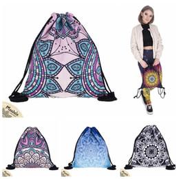 Wholesale fashion kids school bag - 5 Styles MANDALA Drawstring Bags New Fashion Women Kids Mandala Drawstring Backpack Pouch Gift Children School Bags CCA9669 50pcs