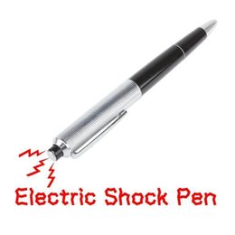 bolas de descarga eléctrica Rebajas Electric Shock Pen promocional Fancy Ball Point Pen choque eléctrico regalo de juguete regalo niños niños broma broma truco divertido juguete b826