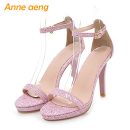 Wholesale Men Sexy Cloths - 2018 summer women sandals high thin heel buckle strap cover heel shining classic sexy party pink gold Silver High heels shoes