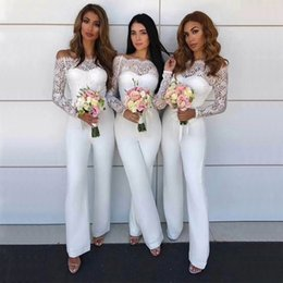 dcfa79466bf 2018 New Arrival Fashion White Bandage Jumpsuit Summer Off Shoulder Long  Sleeve Elegant Lece Evening Party Jumpsuits Wholesale