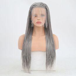 2019 perucas cabeça grande Cinza prata Peruca Dianteira Do Laço Sintético Trançado Peruca de Alta Temperatura Resistente Ao Calor Glueless Lacefront Ombre Trançado Perucas Para As Mulheres Brancas