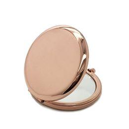 Зеркальные имена онлайн-6.5 см розовое золото серебро косметическое зеркало свадебный подарок выступает индивидуальные имена день рождения две стороны smalls металлические зеркала для макияжа круглой формы