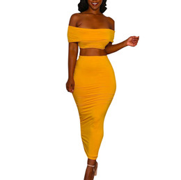 shorts dresses for summer women Coupons - 2 Piece Set Women Sexy Crop Top And Long Skirts Two Piece Bodycon Skirts Set Women For Summer Off Shoulder Crop Tops