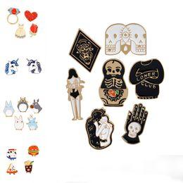 Wholesale Enamel Pin Badges - Enamel Brooch Pins Coffee Cup Totoro Hamburger Pizza Skull Unicorn Love Brooch Lapel Pins Badge DROP SHIP