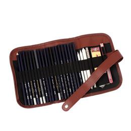 Wholesale Black Hole Office - 1PCS Retro Canvas Artists Pencil Case 24 holes roll brush pen pouch for artist students Makeup office school bag