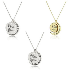 Wholesale Christmas Gifts For Moms - 2018 Fashion Necklace Moon Necklace I Love You To The Moon And Back For Mom Sister Family Pendant Link Chain letter jewelry 162567