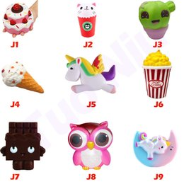 Wholesale Kids Squeeze Toy - Squishies Toy Strawberry Cake ice cream chocolate owl squishies Slow Rising Soft Squeeze Cute Strap gift Stress children toys