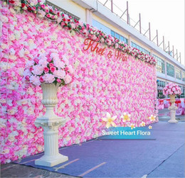 Wholesale stands for backdrops - 10pcs lot 60X40CM Romantic Artificial Rose Hydrangea Flower Wall for Wedding Party Stage and Backdrop Decoration Many colors