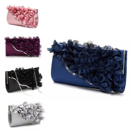 Wholesale Linen Evening Handbags - Lady Satin Clutch Bag Flower Evening Party Wedding Purse Chain Shoulder Handbag