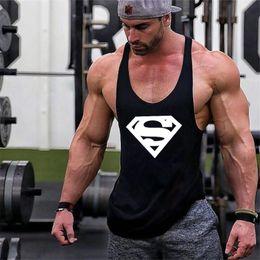 Wholesale supermen t shirt - New Arrivals Bodybuilding stringer tank top Superman Gyms sleeveless t shirt men Fitness Vest Singlet sportswear workout tanktop