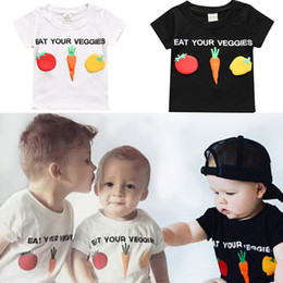 Wholesale vegetable fashion - Ins Kids Vegetable T-shirt Eat Your Veggies Printed Round Neck Short Sleeve Boys Girls Casual Clothing Outfits 6M-9T