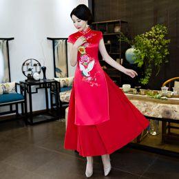 2019 vestido tradicional amarillo chino 2018 chino tradicional AoDai vestido de manga corta rojo amarillo cheongsam vestidos de chino tradicional para mujeres sexo qipao casual rebajas vestido tradicional amarillo chino