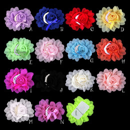 Wholesale Rolled Rosette Flowers - 120pcs Lot 14colors Artificial Goldfish Bowknot Chiffon Rolled Rosette Flowers +Pearls Solid Headwear Fabric Flowers For Kids Headbands
