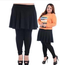 Wholesale Ankle Length Skirted Leggings - Wholesale- XXXL XXXXXL plus size leggings big women 100KG sexy capris elastic slim Pants large Size skirt and pants