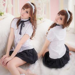 Tenue coréenne mignonne en Ligne-Nouveaux uniformes scolaires japonais / coréens fille mignonne costume marin costume étudiant tenues décontractées t-shirt + jupe marine style