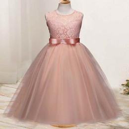 grandes vestidos de noiva estilo princesa Desconto Festa Formal Sem Mangas Grandes Meninas Vestidos De Baile Padrão De Renda Macio Tule Vestido De Princesa 2018 Novo Estilo Vestidos De Casamento Meninas
