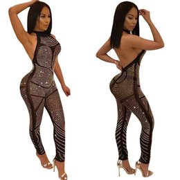 Wholesale Sexy Women Overalls - 2018 Sexy rompers women jumpsuit sleeveless halter backless sequin jumpsuit rhinestone bodysuit overalls H9372