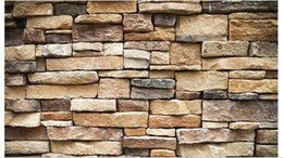 Wholesale Wall Paper Leather - Wholesale- Free shipping 2015custom non-woven wallpaper Stone brick restoring ancient ways background wall 3d mural wallpaper decoration