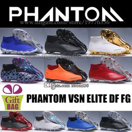Élite originale en Ligne-Nouveau Phantom VSN Elite DF FG Chaussures De Football High Top Football Crampons Maille Phantom Vision Original Bottes De Football Chaussettes Bottes De Football Taille 6.5-12